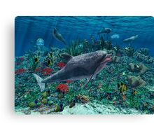 Dolphins play in the reef Canvas Print