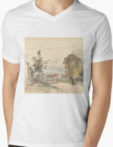 Camille Pissarro - The Road from Versailles to Louveciennes  1872 French Impressionism Landscape Mens V-Neck T-Shirt