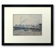 Camille Pissarro - The Saint-Sever Bridge, Rouen Mist 1896 French Impressionism Landscape Framed Print