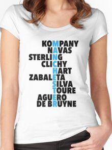 Manchester City spelt using player names Women's Fitted Scoop T-Shirt