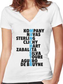Manchester City spelt using player names Women's Fitted V-Neck T-Shirt