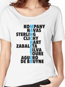 Manchester City spelt using player names Women's Relaxed Fit T-Shirt
