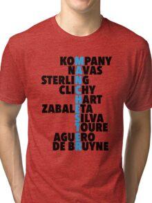 Manchester City spelt using player names Tri-blend T-Shirt