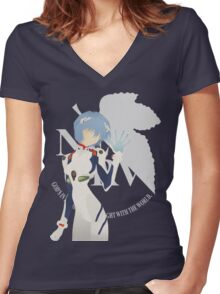 Ayanami Rei - White Logo Ver. Women's Fitted V-Neck T-Shirt