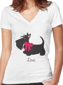 Love Scottie Dog Women's Fitted V-Neck T-Shirt