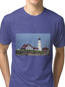 Lighthouse - Portland Head, Maine Tri-blend T-Shirt