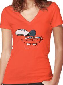 Spongebob Smirk Face Women's Fitted V-Neck T-Shirt