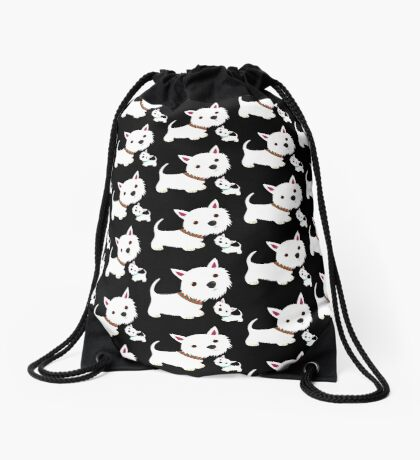 Westie & pup Drawstring Bag
