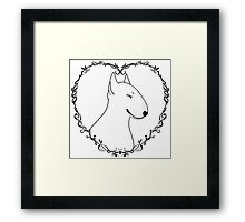 Love Bull Terrier - Black & White Framed Print