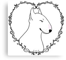 Love Bull Terrier - Black & White Canvas Print
