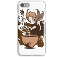 Color illustration of a beautiful coffee's fairy on a floral background iPhone Case/Skin