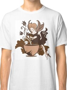 Color illustration of a beautiful coffee's fairy on a floral background Classic T-Shirt