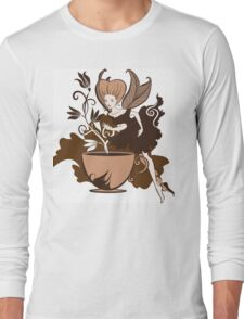 Color illustration of a beautiful coffee's fairy on a floral background Long Sleeve T-Shirt