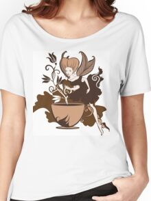 Color illustration of a beautiful coffee's fairy on a floral background Women's Relaxed Fit T-Shirt