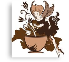 Color illustration of a beautiful coffee's fairy on a floral background Canvas Print