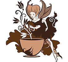 Color illustration of a beautiful coffee's fairy on a floral background Photographic Print