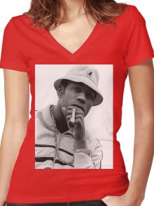 LL Cool J is Bad As Art Women's Fitted V-Neck T-Shirt