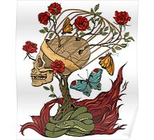 skull, snake, butterflies and flowers Poster