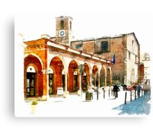 Teramo: arcade and church Canvas Print