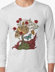 skull, snake, butterflies and flowers Long Sleeve T-Shirt