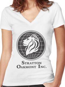 Stratton Oakmont T-Shirt Wolf of Wall Street Tshirt Jordan Belfort Ludes T Shirt Movie Cult Gift Martin Scorsese Him Her Logo Stock Market Women's Fitted V-Neck T-Shirt
