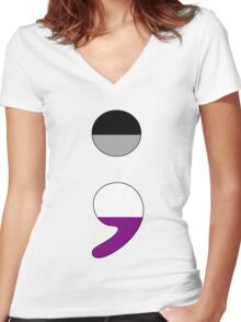 Ace Semicolon Women's Fitted V-Neck T-Shirt