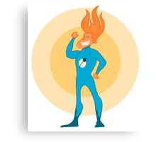 Super Hero Flame Head Man Canvas Print