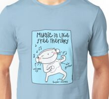 Music is like free therapy / Cat doodles Unisex T-Shirt
