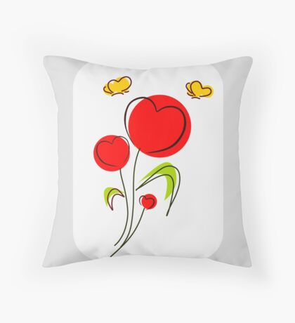 Flower Hearts Drawing Throw Pillow