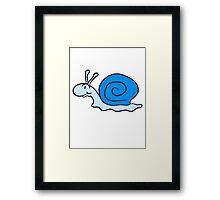 small sweet cute snail blue smile Framed Print