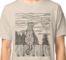 Colour Me Cat on Fence Classic T-Shirt
