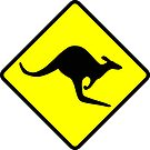 Australian Kangaroo Crossing Road Sign Sticker Aussie Roo T-Shirt by deanworld