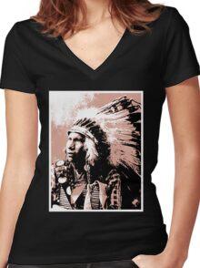 Afraid Of Hawk-Oglala Lakota Women's Fitted V-Neck T-Shirt