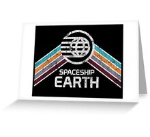 Vintage Spaceship Earth with Distressed Logo in Retro Style Greeting Card