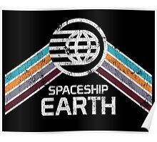 Vintage Spaceship Earth with Distressed Logo in Retro Style Poster