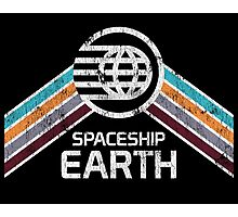 Vintage Spaceship Earth EPCOT Center Distressed Logo Retro Style Photographic Print