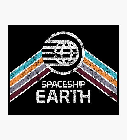 Vintage Spaceship Earth with Distressed Logo in Retro Style Photographic Print