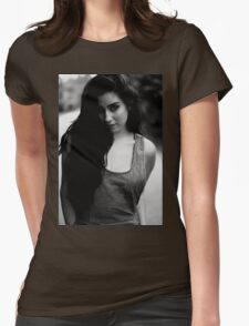 The girl in b&w Womens Fitted T-Shirt