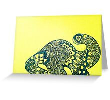 Dino in Bloom on Yellow Greeting Card