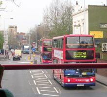 in a double decker bus Sticker