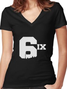 The 6ix Women's Fitted V-Neck T-Shirt