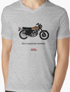 """HONDA CB750 FOUR """"GET A SUPERIORITY COMPLEX"""" Mens V-Neck T-Shirt"""