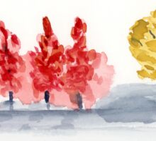 Row of fall trees - Watercolor Painting  Sticker