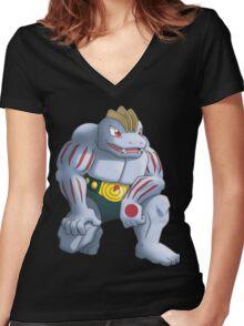 Machoke Pokemon Women's Fitted V-Neck T-Shirt