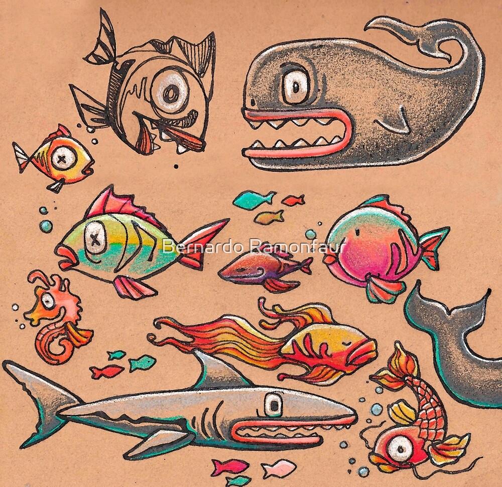 Sea animals / Hand drawn illust - bernardojbp | ello
