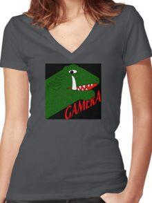 Gamera - Black Women's Fitted V-Neck T-Shirt