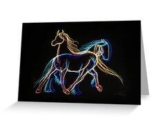 Fire and Ice Trotting Horses Sketch Greeting Card