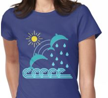 Sun, rain, and dolphins Womens Fitted T-Shirt