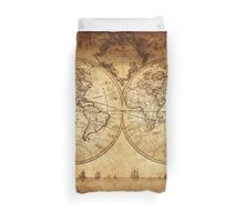 vintage, rustic,world,map,anno,1700,shabby,brownish, Duvet Cover