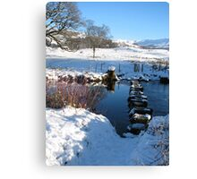Stepping stones under Loughrigg Ambleside. Canvas Print